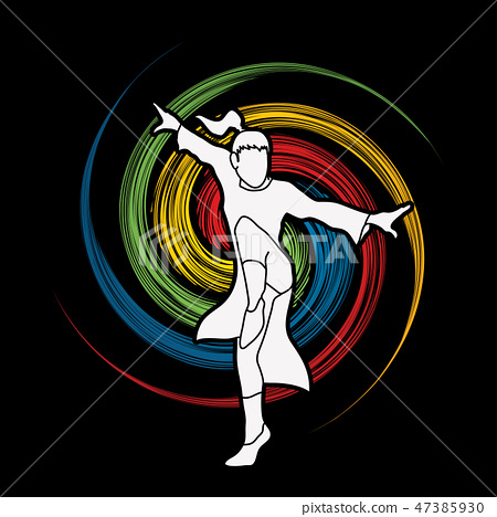 Kung Fu fighting action graphic vector. 47385930
