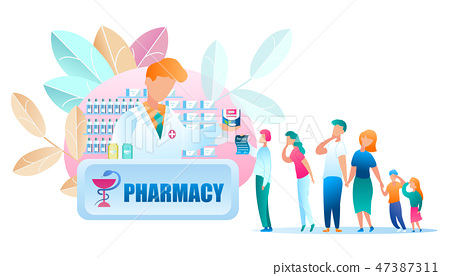 Illustration Group People Standing Line Pharmacy 47387311