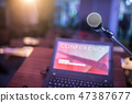 Microphone and laptop computer at podium. 47387677
