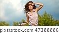 여성, 자전거, 하늘 47388880