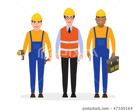 Male builders dressed in work clothes and a construction helmet and holding construction tools 47389169