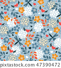 Seamless pattern with butterflies and hearts. 47390472