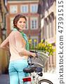 여성, 자전거, 꽃 47391515