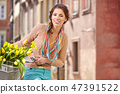flowers, female, bicycle 47391522