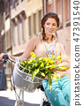 woman, bike, shopping 47391540
