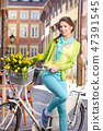 woman, bike, flowers 47391545