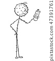Cartoon of Angry Man Having Allergic Skin Rash and Reading Ingredients on Bottle of Cosmetics or 47391761
