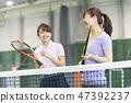 网球,女子,网球场,球拍,学校 47392237