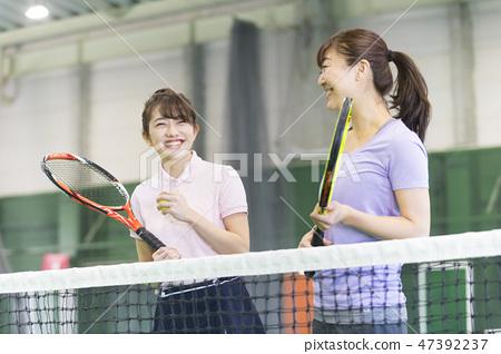 網球,女子,網球場,球拍,學校 47392237
