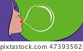 woman with purple hair portrait bubble gum pop art 47393562