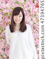 年輕女士的髮型 47394765