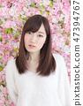 年輕女士的髮型 47394767