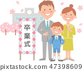 Elementary school graduation ceremony school building and whole cherry blossoms 47398609