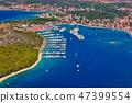 Aerial view of marina in the Adriatic sea, Rogoznica, Croatia 47399554