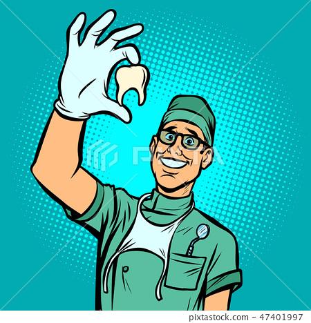 Joyful dentist man. Torn tooth 47401997