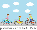Turn here and ride a bicycle, parents and children 47403537