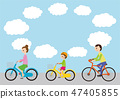 Bicycling, looking forward, parents and children 47405855