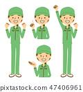 工作服帽子女人乳房全身設置綠色 47406961