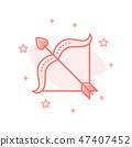 Cupid Bow with arrow flat design vector concept 47407452
