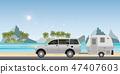 Caravan car driving car on road on the beach.1 47407603