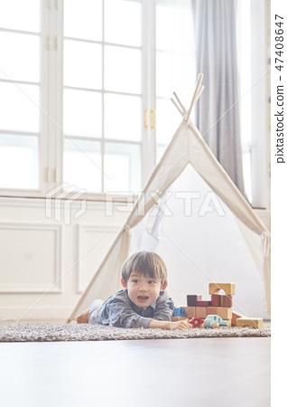 블록놀이,유아,어린이,아기,베이비,거실,집,주택 47408647