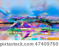 Abstract oil painting landscape. 47409760