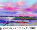 Abstract oil painting landscape.  47409881