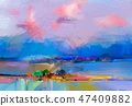 Abstract oil painting landscape. 47409882