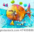 Abstract colorful fantasy oil painting. 47409886