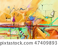 Abstract colorful fantasy oil painting. 47409893