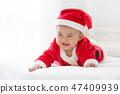 Christmas Santa Claus asian baby boy  47409939