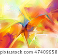 Abstract colorful oil paint brush stroke on canvas 47409958