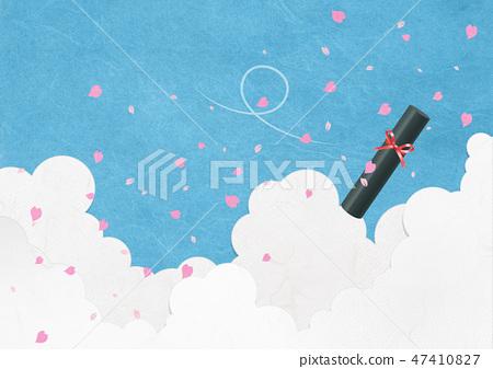 일본식 배경 소재 - 종이의 감촉 - 벚꽃 - 왕 벚나무 - 푸른 하늘 - 졸업장 47410827
