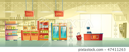 Vector background of empty supermarket, shop, store 47411263