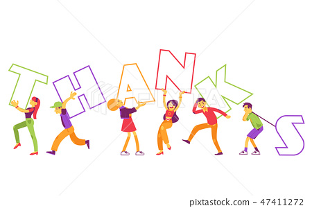 Vector illustration of Thanks text design with people holding big letters in flat style. 47411272