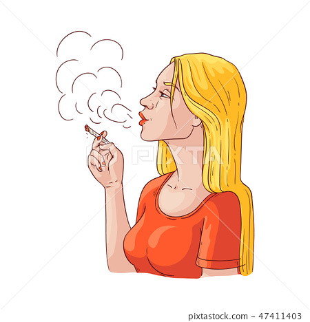 Vector young woman smoking with cigarette icon 47411403