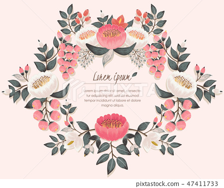 Vector illustration of a floral wreath in spring 47411733