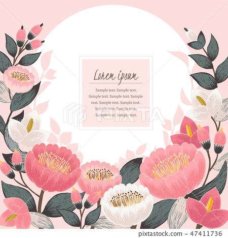 Vector illustration of a floral frame in spring 47411736
