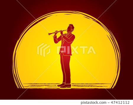 Clarinet player graphic vector 47412112