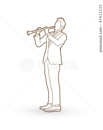 Clarinet player graphic vector 47412115
