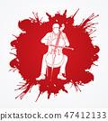 Cello player graphic vector. 47412133