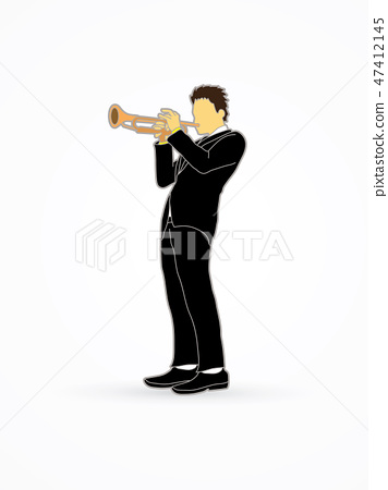 Trumpet player graphic vector. 47412145
