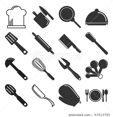 Utensil, kitchenware icon set illustration 47413765