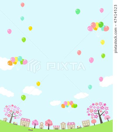 벚꽃 나무 거리와 풍선 라운드 47414523
