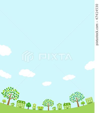 綠樹,城市景觀和圓形的天空 47414530