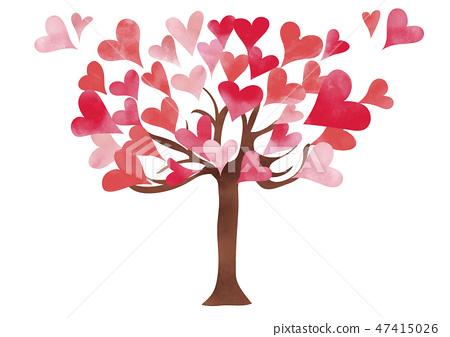 Watercolor Style Valentine Heart Tree Red Series Stock Illustration 47415026 Pixta
