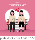 Valentine's day background, couples in love 47416277