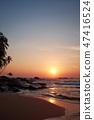 Sunset on the ocean, Sri Lanka beach 47416524