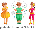 Fat woman weignt loss. Fitness and diet is path 47416935