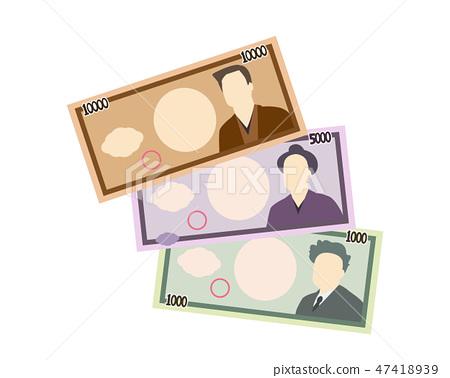 1000日元5000日元10000日元票据钱 47418939
